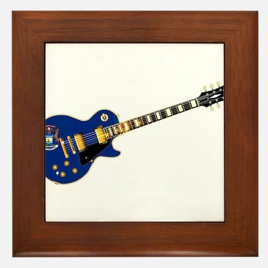 Michigan State Flag Guitar Framed Tile