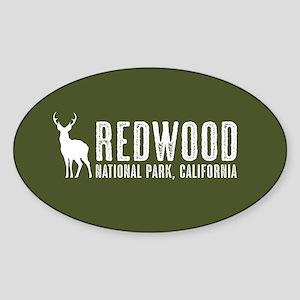 Deer: Redwood, California Sticker (Oval)
