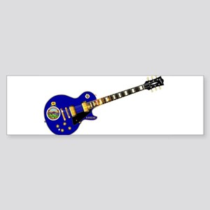 Kansas State Flag Guitar Bumper Sticker