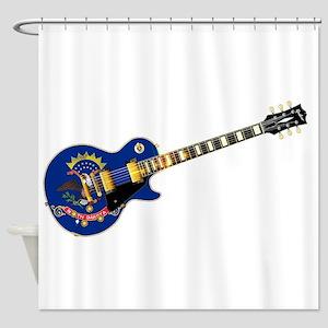 North Dakota State Flag Guitar Shower Curtain