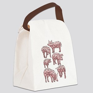 Geometric Pigs Canvas Lunch Bag