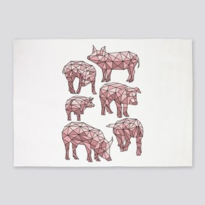 Geometric Pigs 5'x7'Area Rug
