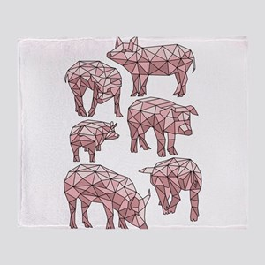 Geometric Pigs Throw Blanket