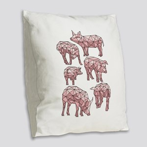 Geometric Pigs Burlap Throw Pillow