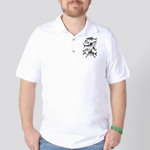 Geometric Sharks Golf Shirt