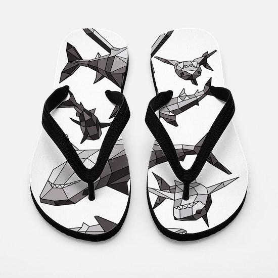 Geometric Sharks Flip Flops