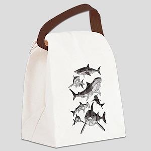 Geometric Sharks Canvas Lunch Bag