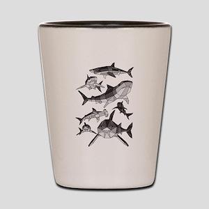 Geometric Sharks Shot Glass