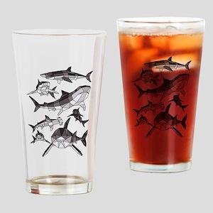 Geometric Sharks Drinking Glass