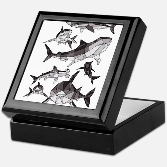 Geometric Sharks Keepsake Box