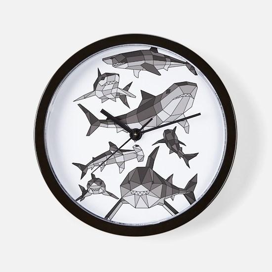 Geometric Sharks Wall Clock