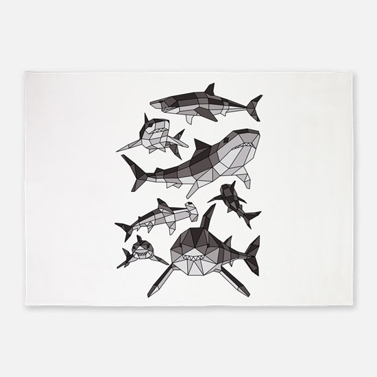 Geometric Sharks 5'x7'Area Rug