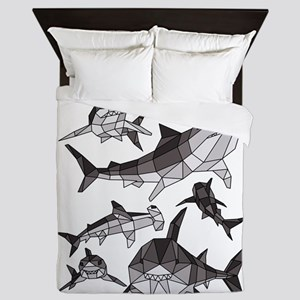 Geometric Sharks Queen Duvet