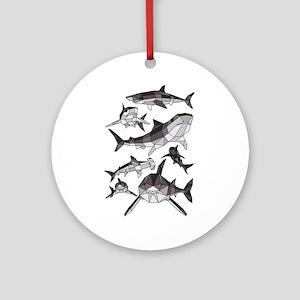 Geometric Sharks Round Ornament