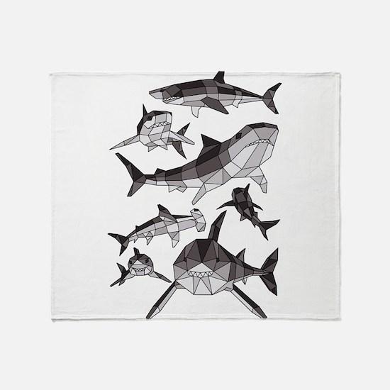 Geometric Sharks Throw Blanket