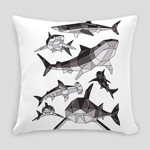 Geometric Sharks Everyday Pillow