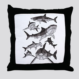 Geometric Sharks Throw Pillow