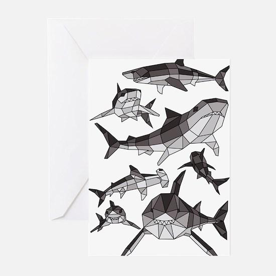 Geometric Sharks Greeting Cards