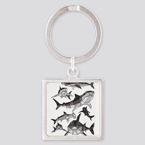 Geometric Sharks Keychains