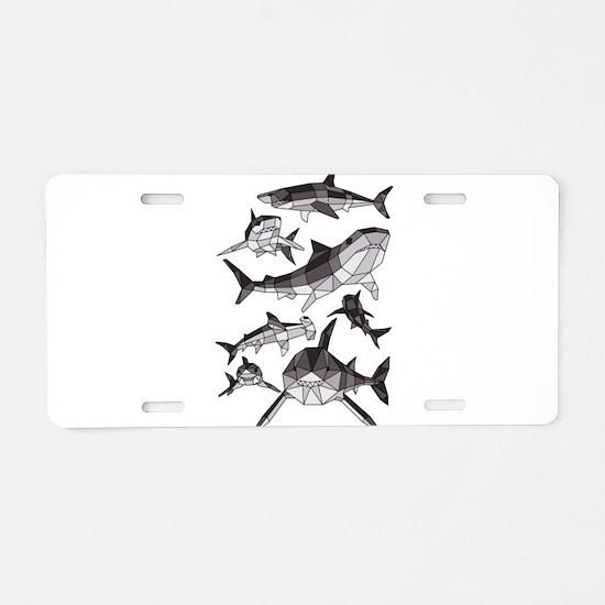 Geometric Sharks Aluminum License Plate