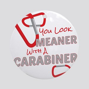 Meaner Carabiner Round Ornament