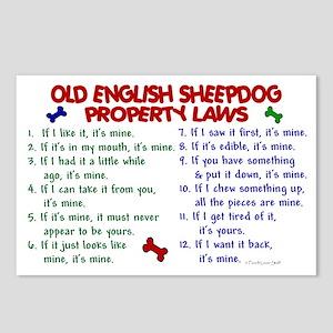 Old English Sheepdog Property Laws 2 Postcards (Pa