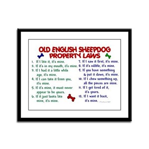 Old English Sheepdog Property Laws 2 Framed Panel