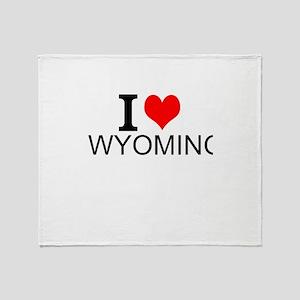 I Love Wyoming Throw Blanket