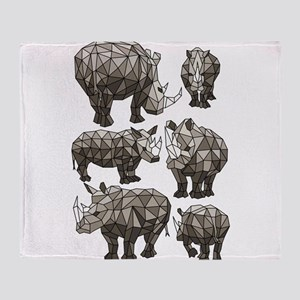 Geometric Rhino Throw Blanket