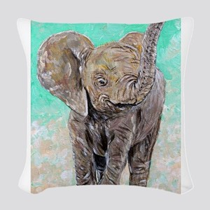 Baby Elephant Woven Throw Pillow