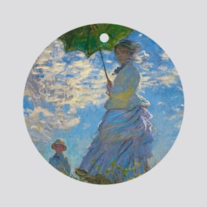 Woman with A Parasol by Claude Monet Round Ornamen
