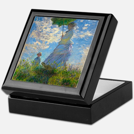 Woman with A Parasol by Claude Monet Keepsake Box