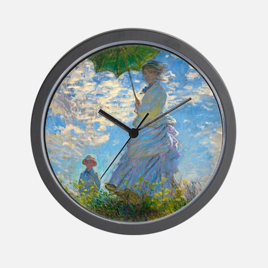 Woman with A Parasol by Claude Monet Wall Clock