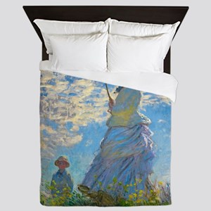 Woman with A Parasol by Claude Monet Queen Duvet