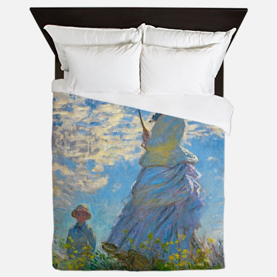 Woman with A Parasol by Claude Monet Queen Duvet