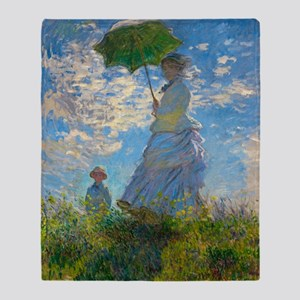 Woman with A Parasol by Claude Monet Throw Blanket