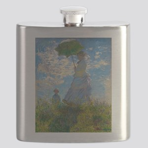 Woman with A Parasol by Claude Monet Flask