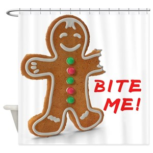 Bite Me Gingerbread Man Shower Curtains