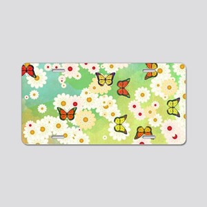 Daisies and butterflies Aluminum License Plate