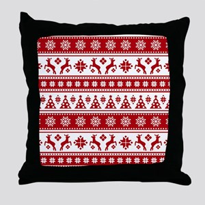 Christmas Holiday Nordic Pattern Cozy Throw Pillow