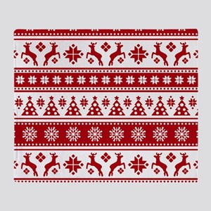 Christmas Holiday Nordic Pattern Coz Throw Blanket