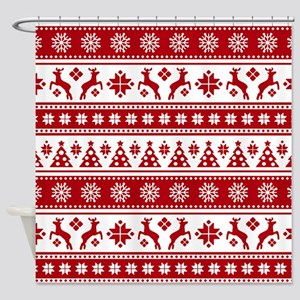 Christmas Holiday Nordic Pattern Co Shower Curtain