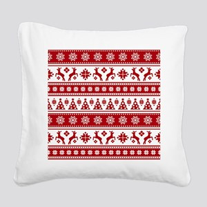 Christmas Holiday Nordic Patt Square Canvas Pillow