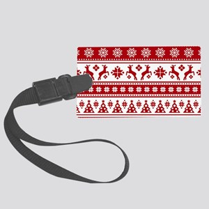 Christmas Holiday Nordic Pattern Large Luggage Tag