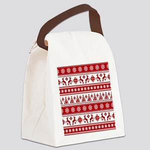 Christmas Holiday Nordic Pattern Canvas Lunch Bag