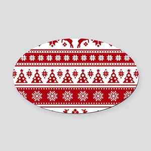 Christmas Holiday Nordic Pattern C Oval Car Magnet