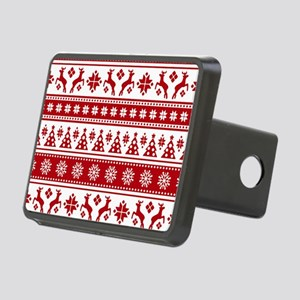 Christmas Holiday Nordic P Rectangular Hitch Cover