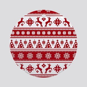 Christmas Holiday Nordic Pattern Co Round Ornament