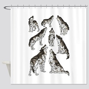 Geometric Howling Wolves Shower Curtain