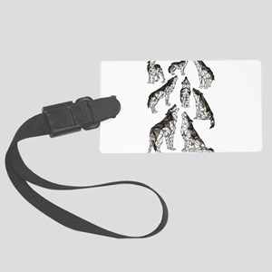 Geometric Howling Wolves Large Luggage Tag